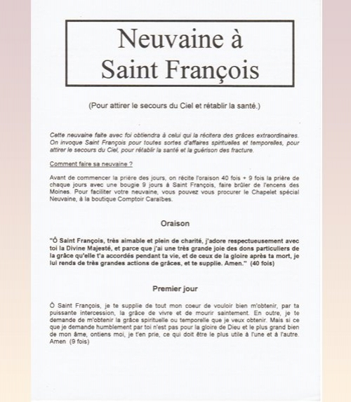 Neuvaine Saint Francois